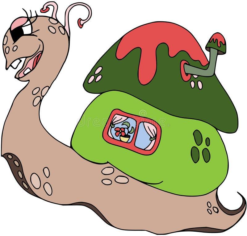 Śmieszny ślimaczek z domem na jego z powrotem, barwiący Postać z kreskówki, kreskówek zwierzęta Barwić na bielu ilustracji