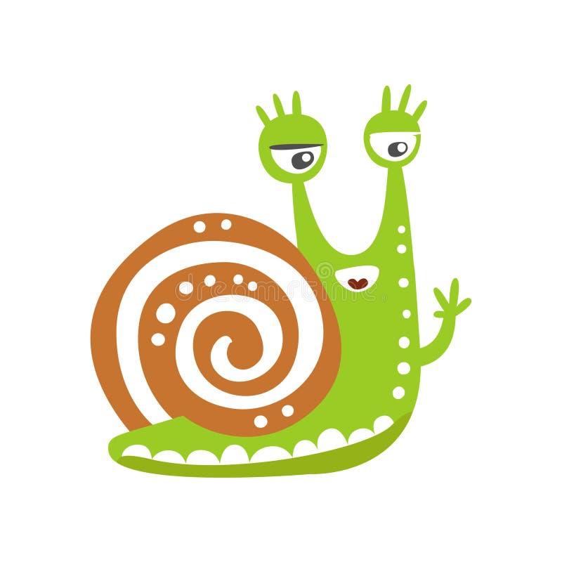 Śmieszny ślimaczka charakter macha swój rękę, śliczna zielona ręka rysująca mollusk wektorowa ilustracja royalty ilustracja