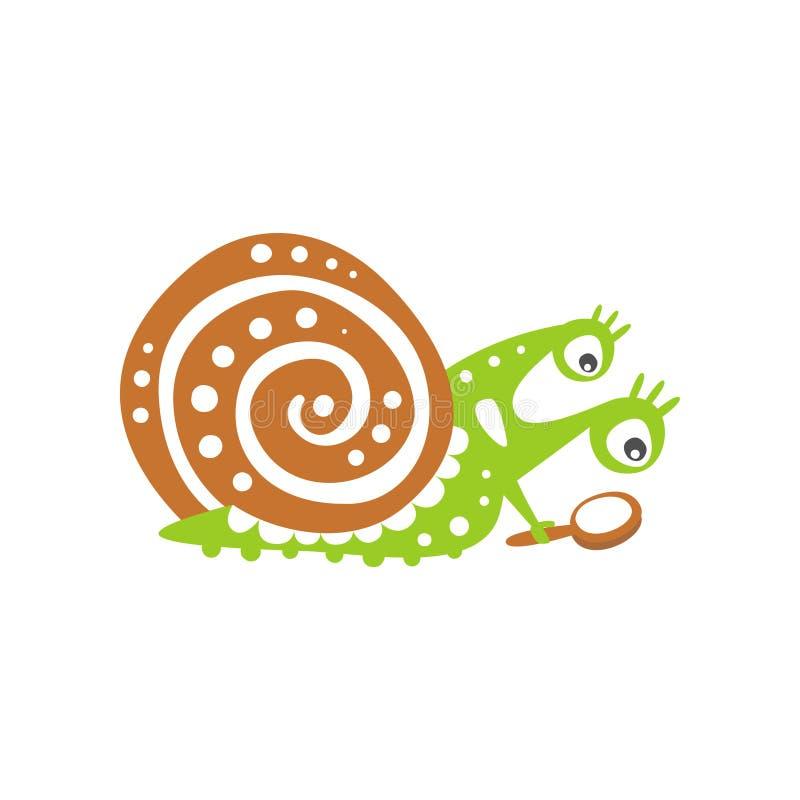 Śmieszny ślimaczka charakter patrzeje przez powiększać - szkło, śliczna zielona ręka rysująca mollusk wektorowa ilustracja ilustracja wektor