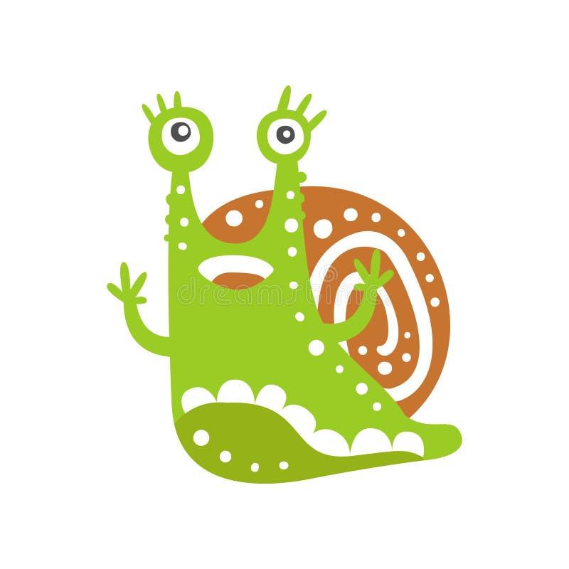 Śmieszny ślimaczka charakter podnosi swój ręki, śliczna zielona ręka rysująca mollusk wektorowa ilustracja ilustracji