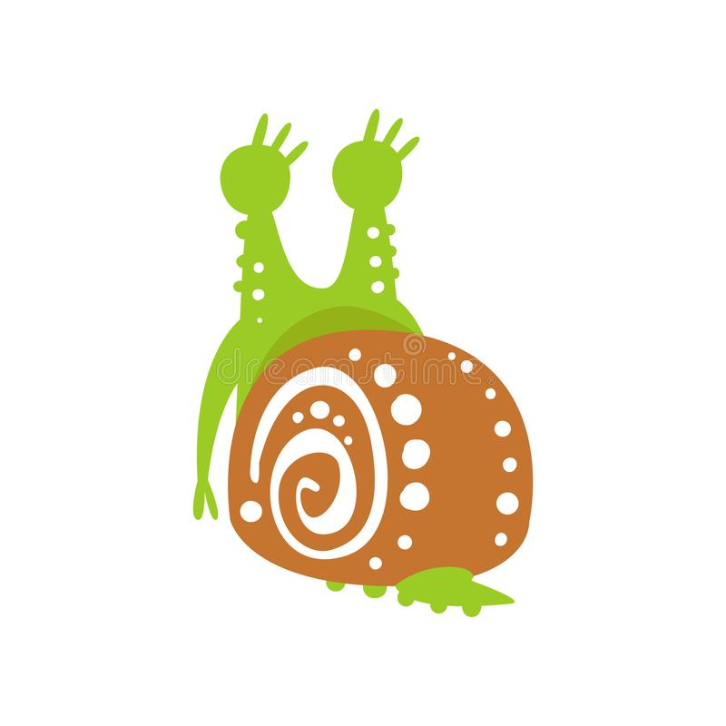 Śmieszny ślimaczka charakter, tylny widok, śliczna zielona ręka rysująca mollusk wektorowa ilustracja royalty ilustracja