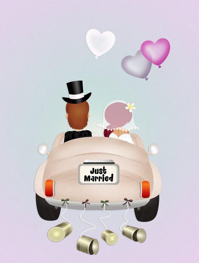 Śmieszny Ślubny samochód ilustracja wektor