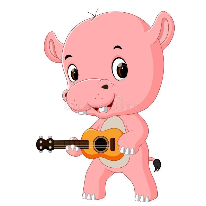 Śmieszny śpiewacki hipopotam bawić się gitarę ilustracji