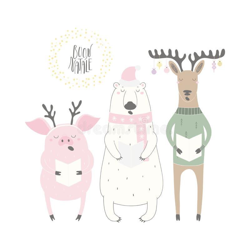 Śmieszny śpiewacki niedźwiedź polarny, świnia, reniferowa kartka bożonarodzeniowa royalty ilustracja