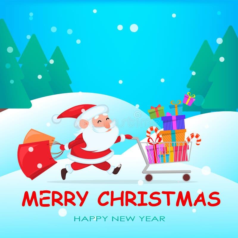 Śmieszny Święty Mikołaj bieg z wózkiem na zakupy ilustracja wektor