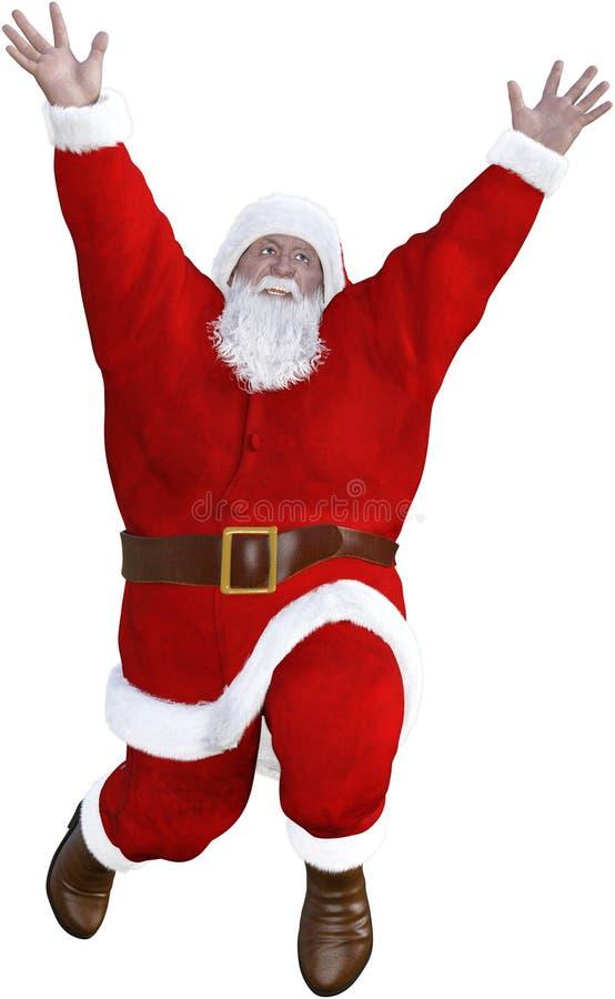 Śmieszny Święty Mikołaj doskakiwanie Odizolowywający royalty ilustracja