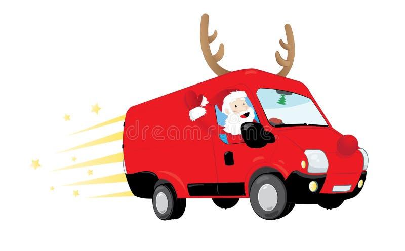 Śmieszny Święty Mikołaj jedzie czerwonego samochód dostawczego i dostarcza teraźniejszość royalty ilustracja