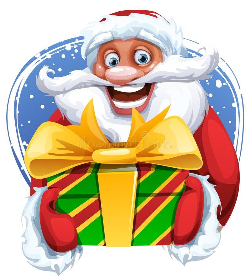 Śmieszny Święty Mikołaj majcheru wizerunek ilustracja wektor