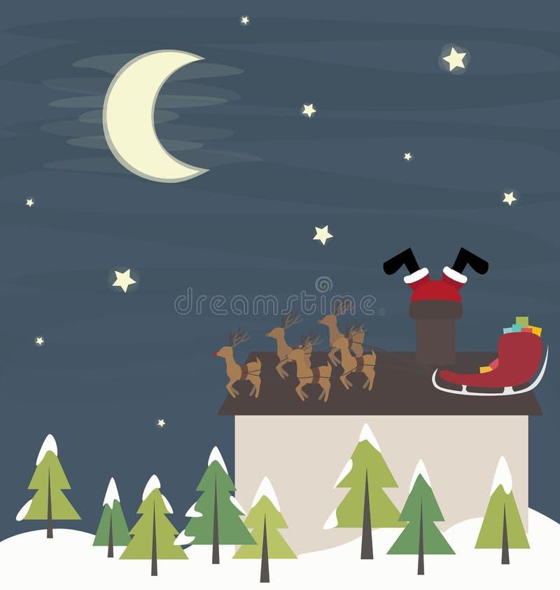 Śmieszny Święty Mikołaj w kominie ilustracji