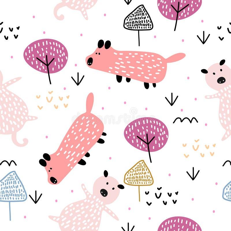 Śmieszny świniowaty zwierzęcy bezszwowy wzór Modny scandinavian rysunek na białym tle Przygotowywa dla mody tekstylnego dziecka d royalty ilustracja