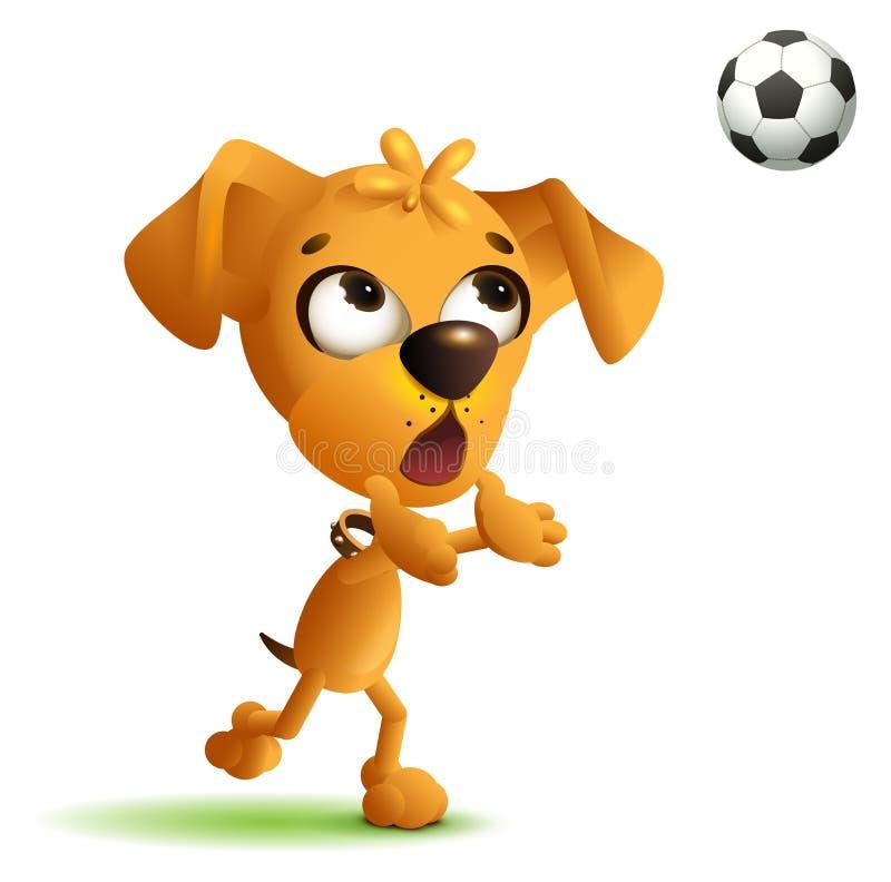 Śmieszny żółtego psa bramkarz łapie piłki nożnej piłkę ilustracja wektor