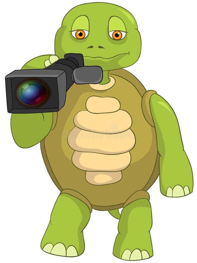 Śmieszny żółw. Kamerzysta. ilustracja wektor
