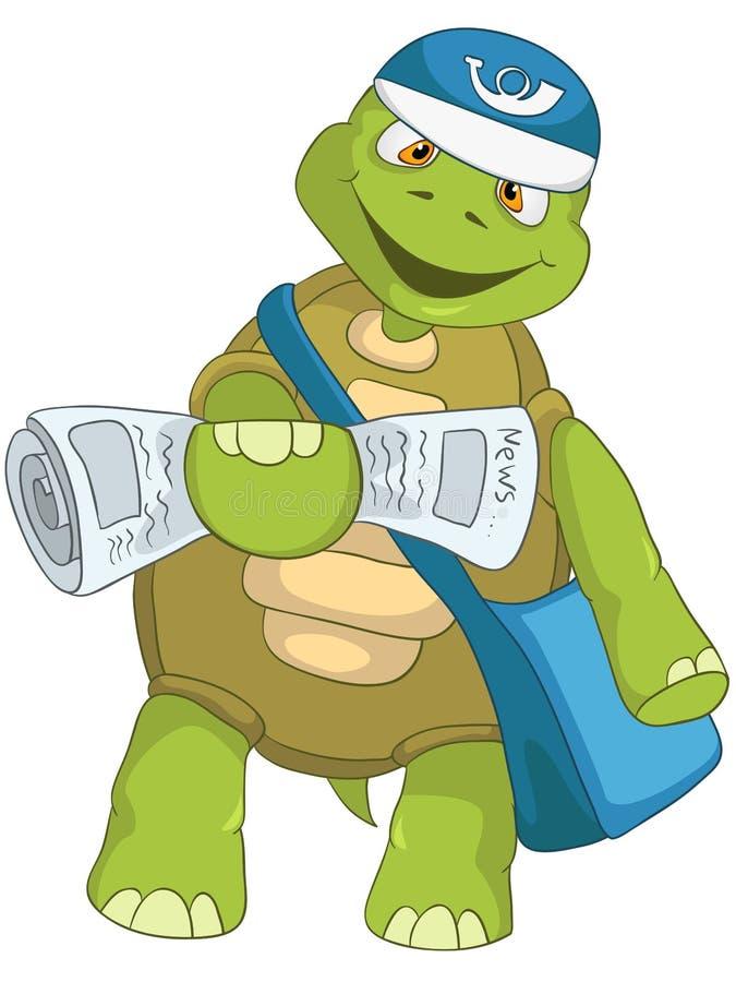 Śmieszny żółw. Listonosz. royalty ilustracja