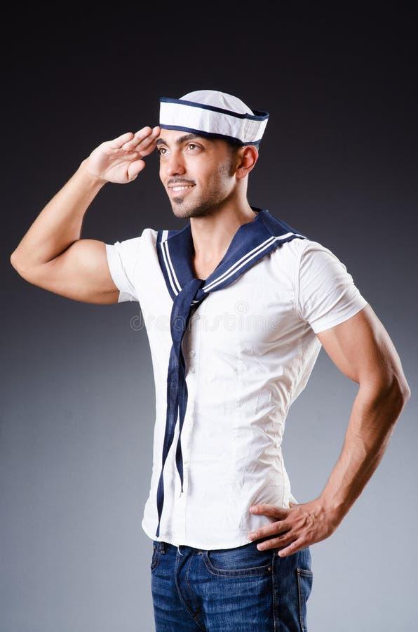 Śmieszny żeglarz z nakrętką i koszula zdjęcia stock