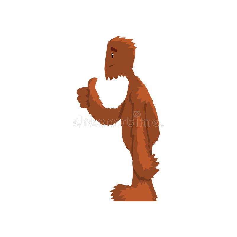 Śmieszny życzliwy Bigfoot pokazuje aprobaty, mitycznej istoty postać z kreskówki wektorowa ilustracja na białym tle royalty ilustracja
