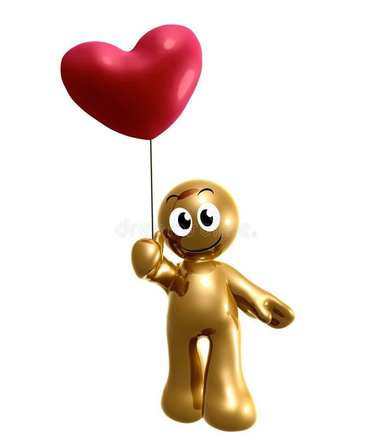 Śmieszny 3d ikony mienia serca balon ilustracja wektor