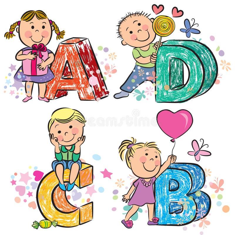 Śmieszny abecadło z dzieciakami ABCD royalty ilustracja