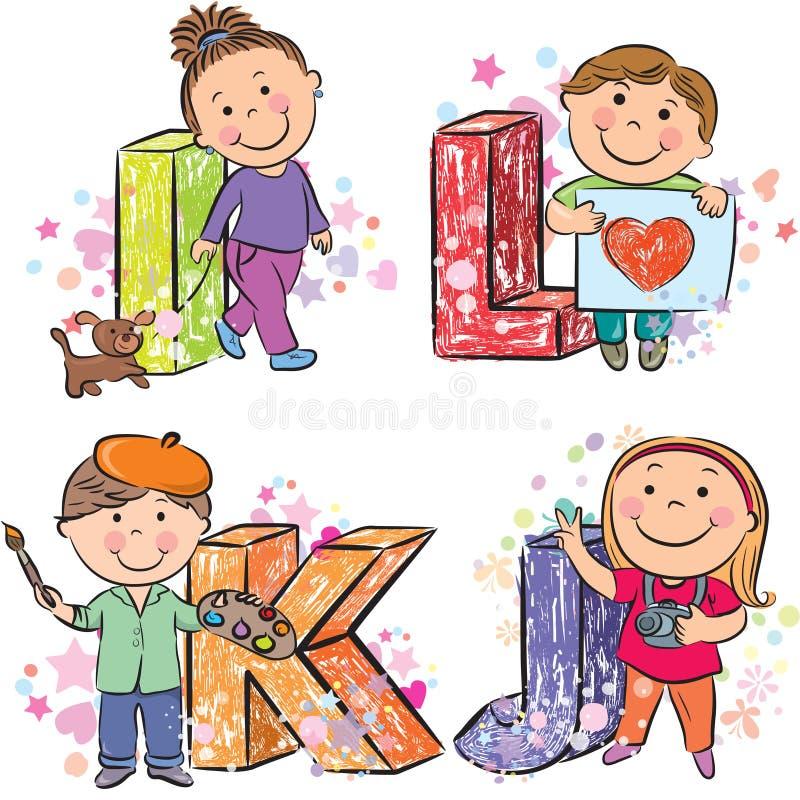 Śmieszny abecadło z dzieciakami IJKL ilustracji