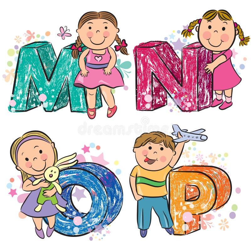 Śmieszny abecadło z dzieciakami MNOP ilustracja wektor