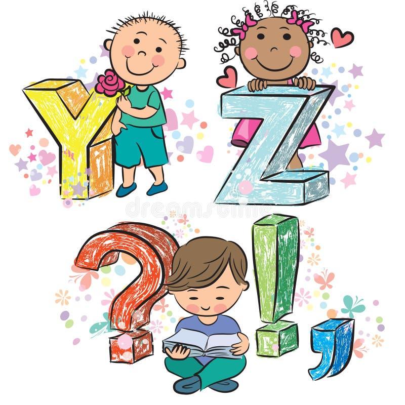 Śmieszny abecadło z dzieciakami YZ royalty ilustracja