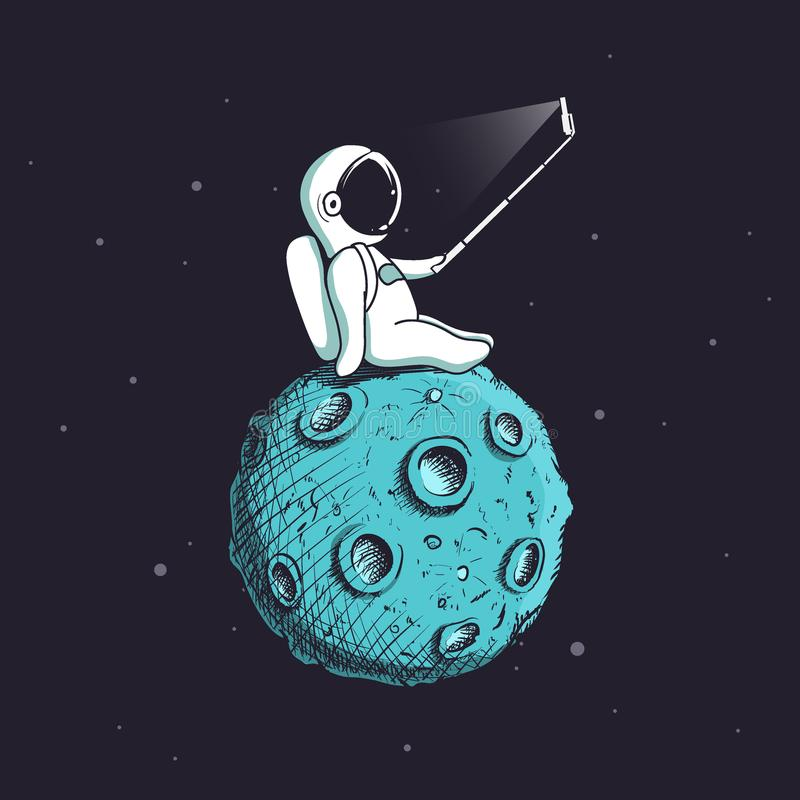 Śmieszny astronauta robi selfie na księżyc ilustracja wektor