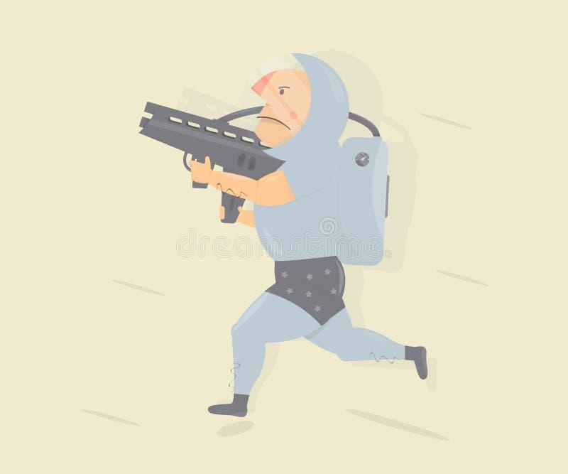 Śmieszny astronauta z niszczyciela pistoletem Postać z kreskówki humoru styl ilustracja wektor
