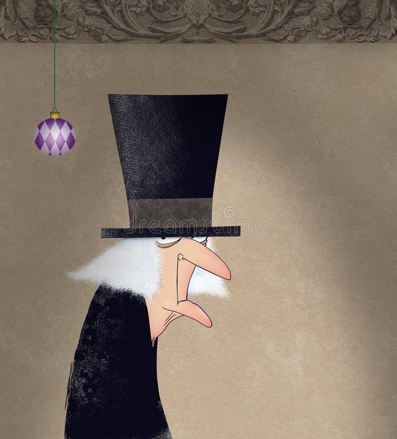 Śmieszny atramentu rysunek Scrooge royalty ilustracja