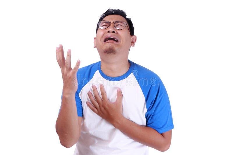Śmieszny Azjatycki mężczyzna płacz obraz stock