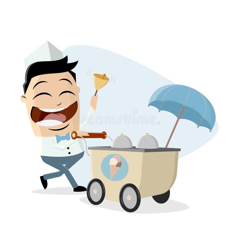 Śmieszny azjatykci lody sprzedawca z lody furą royalty ilustracja