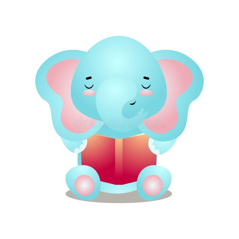 Śmieszny błękitny słoń czyta ciekawą czerwieni książkę ilustracja wektor