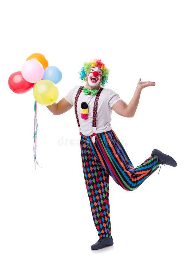 Śmieszny błazen z balonami odizolowywającymi na białym tle zdjęcie royalty free