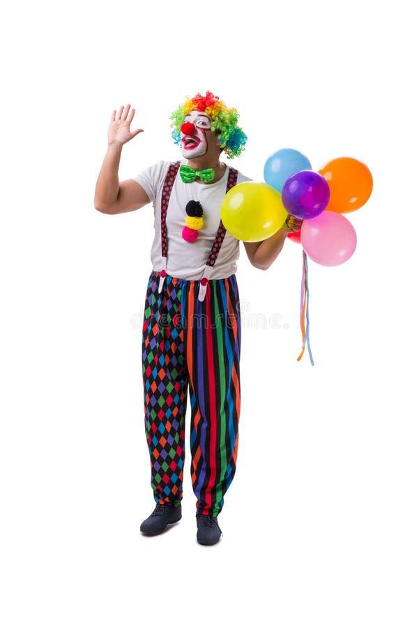 Śmieszny błazen z balonami odizolowywającymi na białym tle obrazy stock