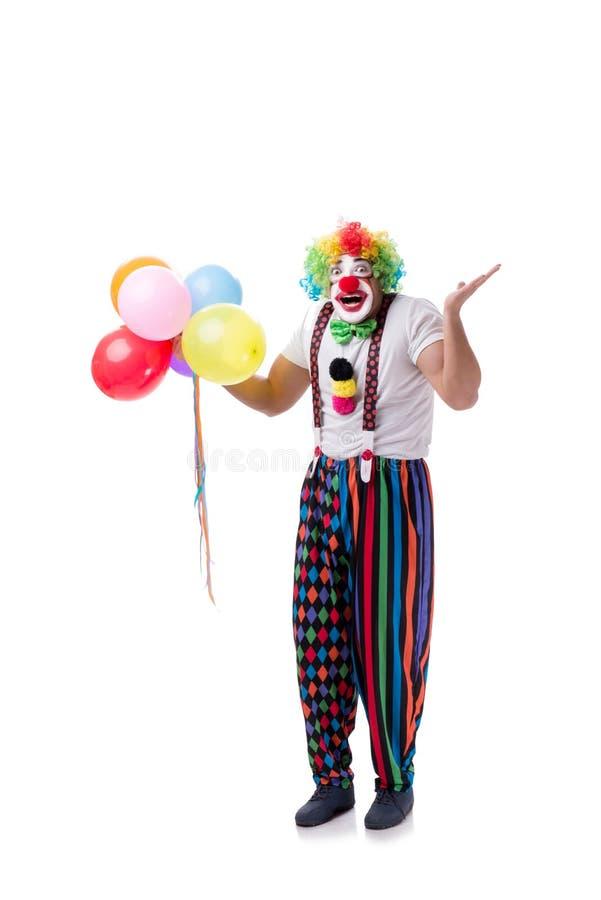 Śmieszny błazen z balonami odizolowywającymi na białym tle zdjęcie stock