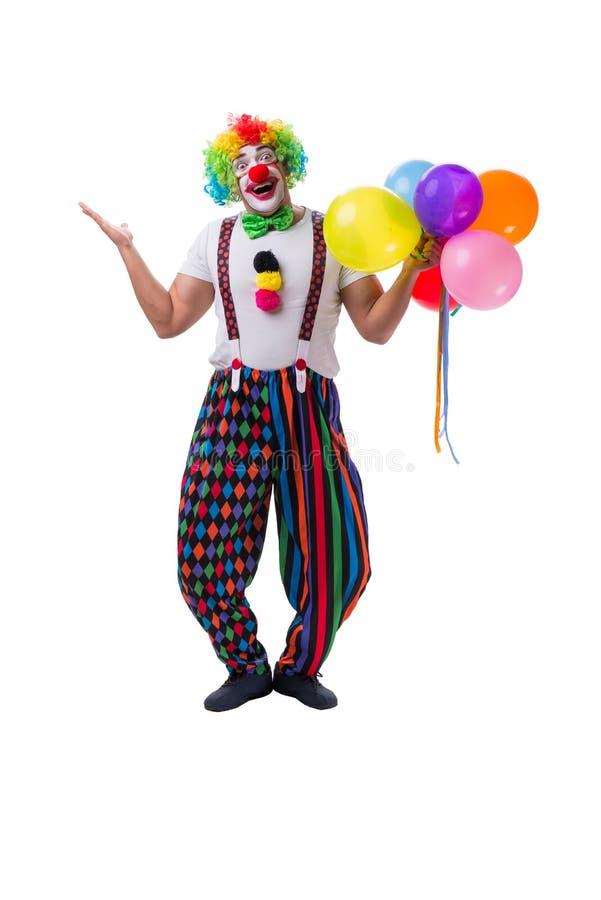 Śmieszny błazen z balonami odizolowywającymi na białym tle fotografia stock
