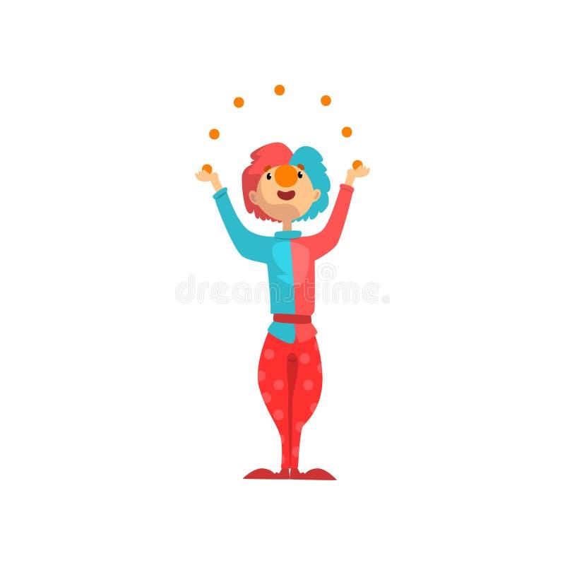 Śmieszny błazenu postać z kreskówki żongluje z kolorowymi piłkami, karnawału występu wektorową ilustracją, partyjnego lub cyrkowe royalty ilustracja