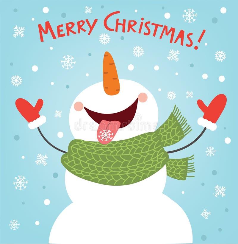 Śmieszny bałwan cieszy się płatki śniegu Święta były więcej górskiej ilustracyjnej nocy bałwana śnieżnego drzewa ilustracji