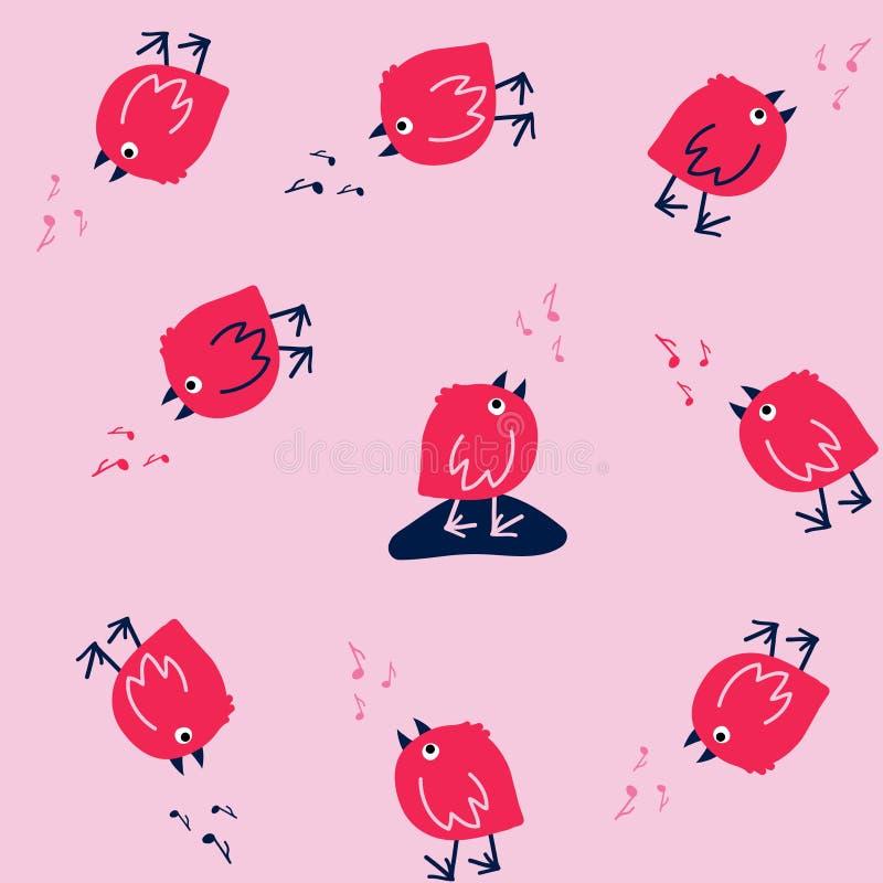 Śmieszny Bezszwowy wzór z Śpiewackimi ptakami na Różowym tle ilustracja wektor