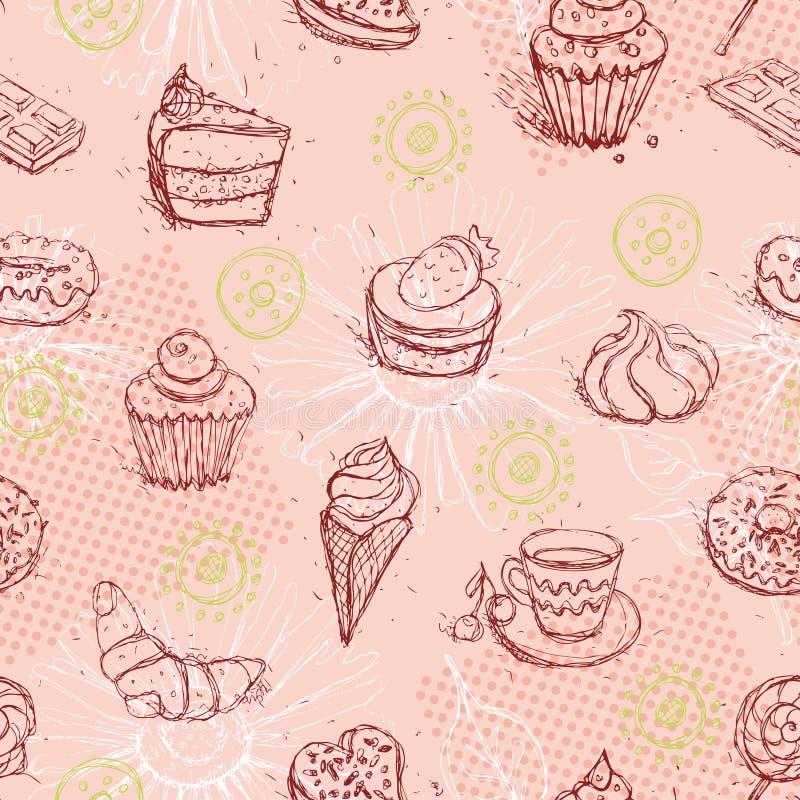 Śmieszny bezszwowy wzór z lody kawowego torta croissant wektor ilustracja wektor