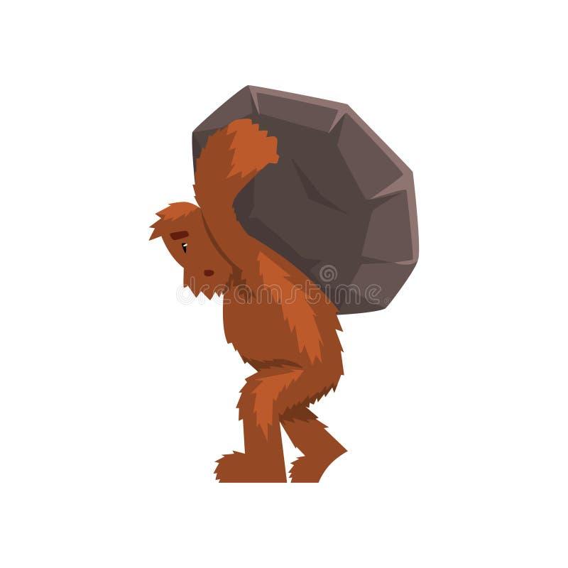 Śmieszny Bigfoot niesie ciężkiego kamień na jego z powrotem, mitycznej istoty postać z kreskówki wektorowa ilustracja na bielu ilustracja wektor