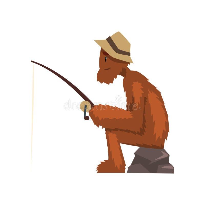 Śmieszny Bigfoot połów z prąciem, mitycznej istoty postać z kreskówki wektorowa ilustracja na białym tle ilustracja wektor