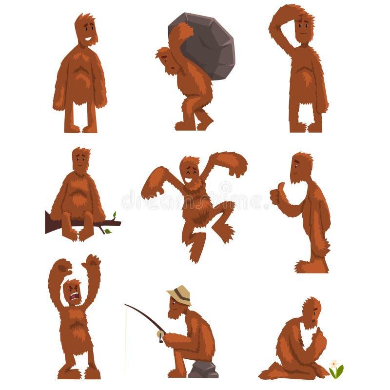 Śmieszny Bigfoot postać z kreskówki - set, mityczna istota w różnych sytuacj wektorowych ilustracjach na bielu ilustracja wektor