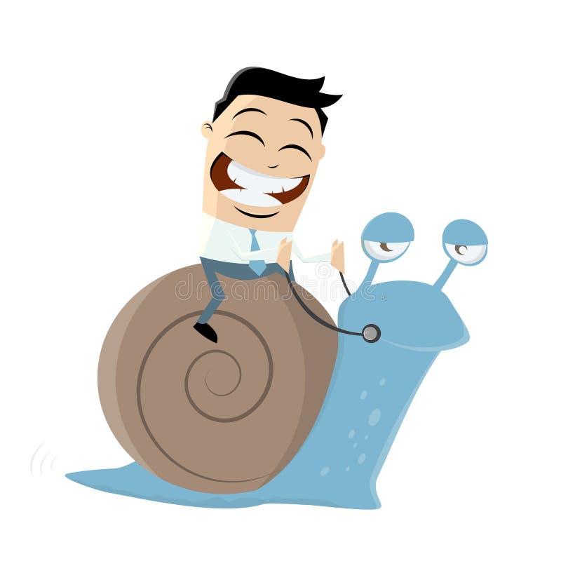 Śmieszny biznesmen jedzie wolnego ślimaczka royalty ilustracja