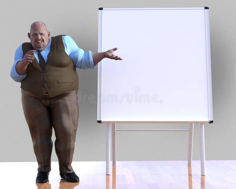 Śmieszny biznesmen, prezentacja, spotkanie, ilustracja ilustracja wektor