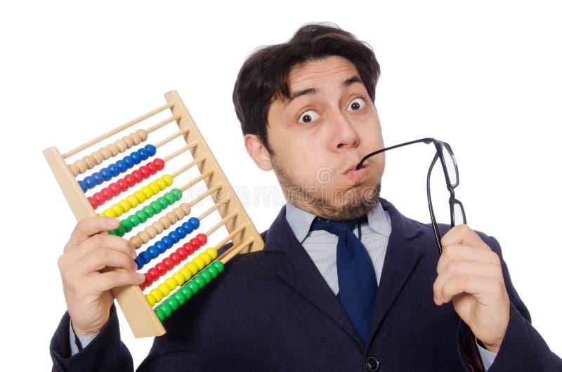 Download Śmieszny Biznesmen Z Abakusem Odizolowywającym Na Bielu Zdjęcie Stock - Obraz złożonej z kreatywnie, szef: 57653604