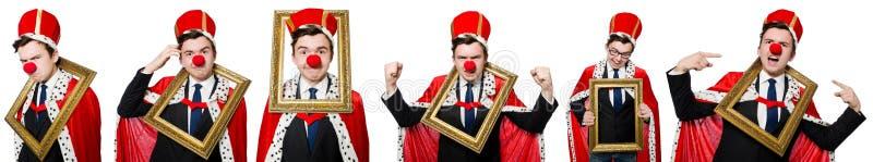 Śmieszny biznesmen z błazenu nosem obraz royalty free
