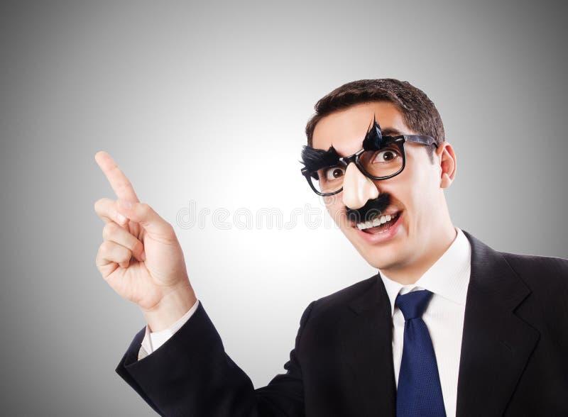 Śmieszny biznesmen z brwiami i wąsem zdjęcie stock