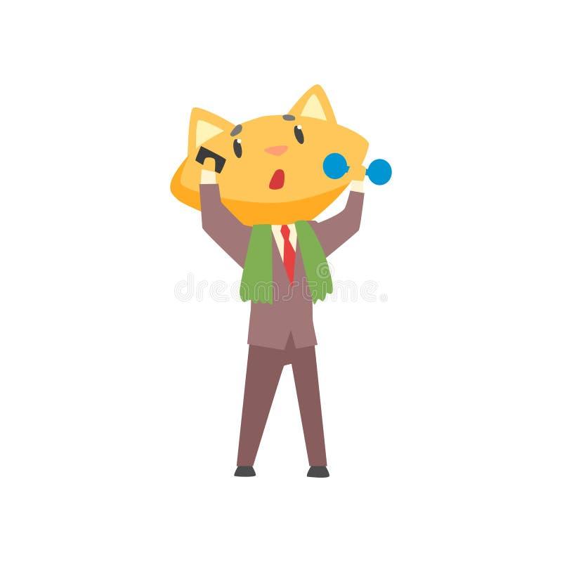 Śmieszny biznesmena lis opowiada na telefonie i ćwiczy z dumbbell w kostiumu, śliczna zwierzęca szefa charakteru kreskówka royalty ilustracja