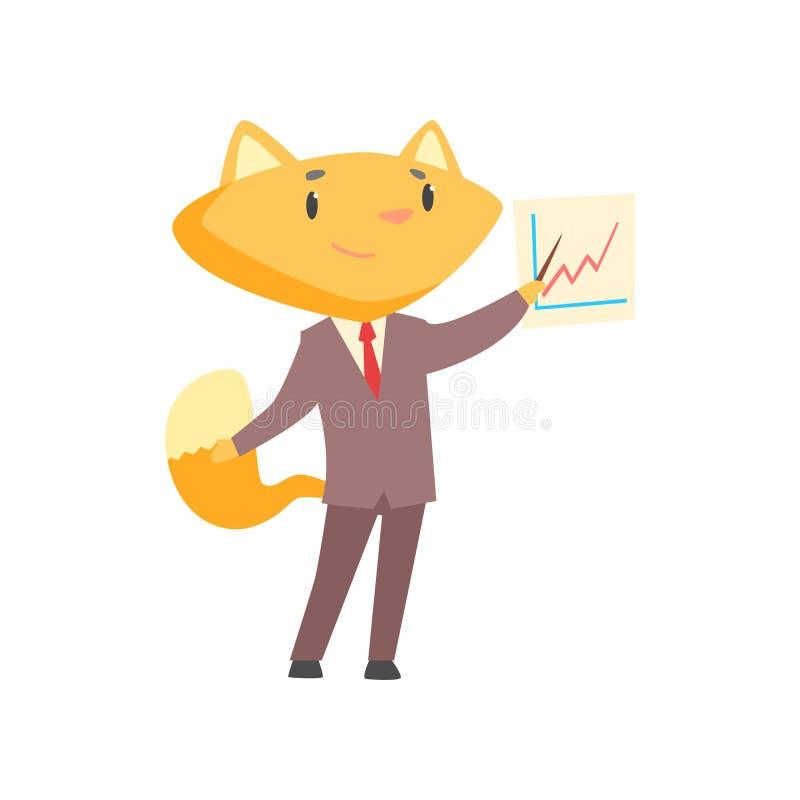 Śmieszny biznesmena lis wskazuje przy deską z narastającym wykresem w kostium pozyci, śliczna zwierzęca szefa charakteru kreskówk ilustracji