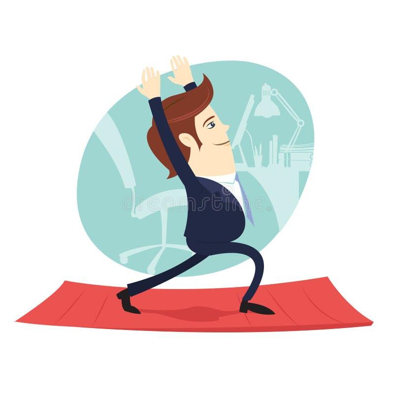 Śmieszny biznesowy mężczyzna jest ubranym kostium robi joga medytuje pozy warri royalty ilustracja