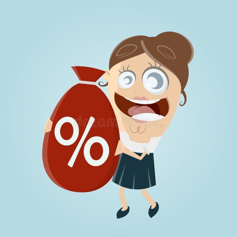 Śmieszny bizneswoman z dużą dyskontową torbą ilustracji
